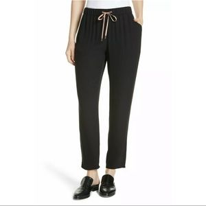 New Eileen Fisher Black Silk slouchy Ankle Pants